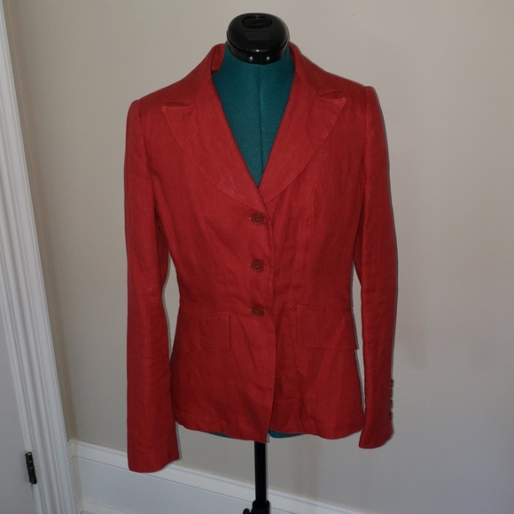Angelo Dinepi Other Womens Linen Pant Suit Dark Coral Eu 44 Us 6